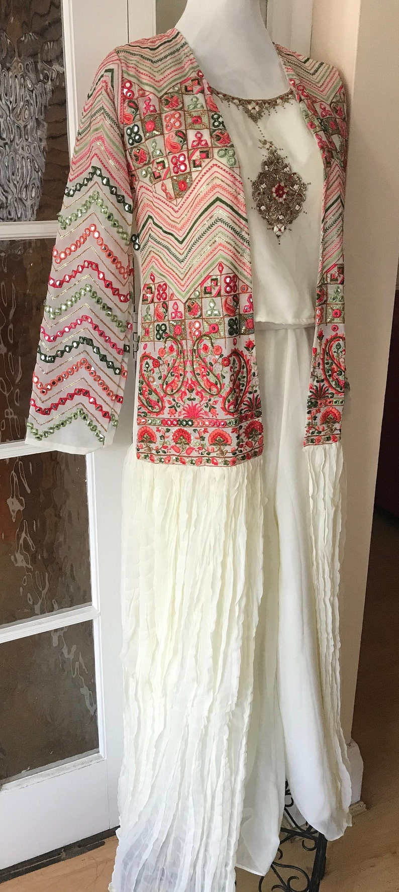 UK Stock-Crop top with long jacketGeorgetteEmbroidered PlazzoIndowesternGiftMother\u2019s Day