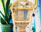 Vintage Boho Wicker Peacock Plant Chair
