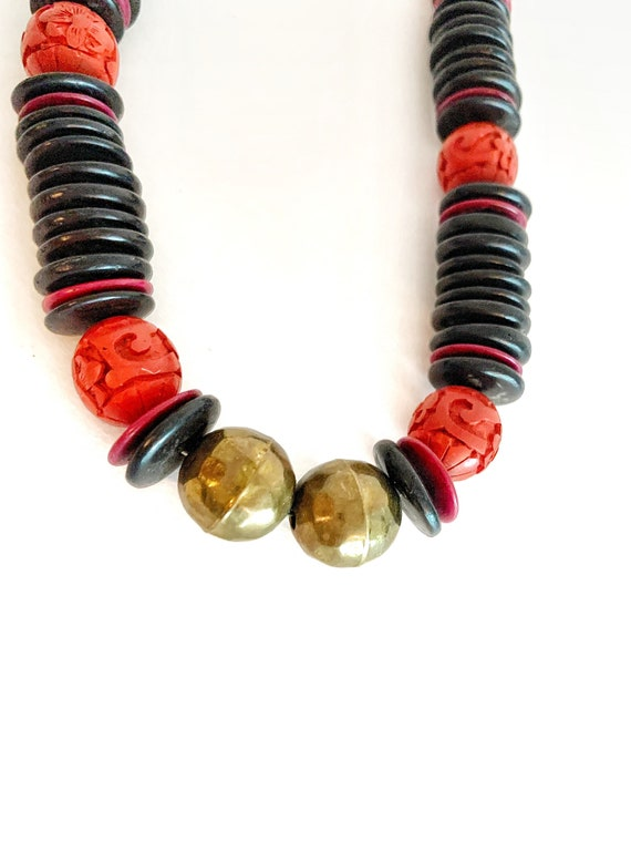 Vintage Rare Old Chinese Red Cinnabar Black Wood Button And Brass Beads Long Necklace