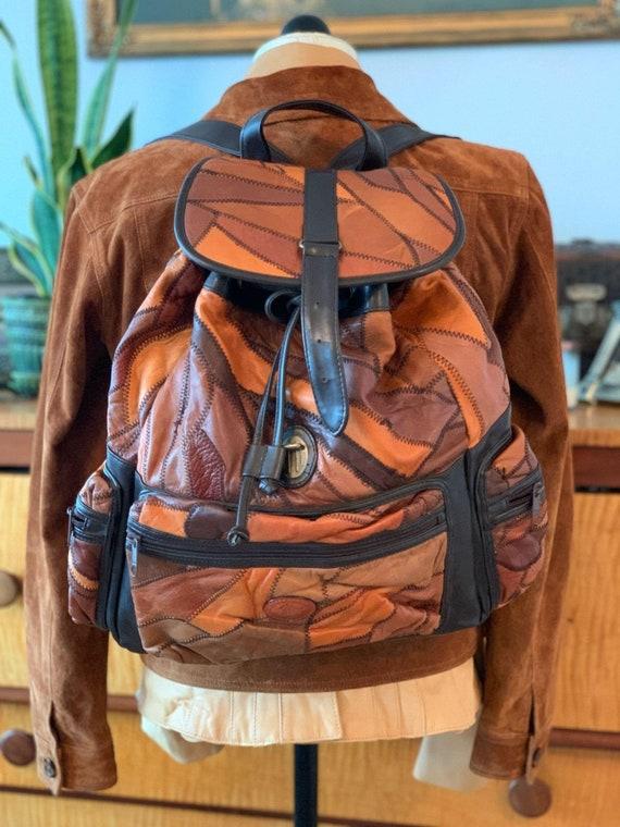 PurseMusic Fest StudentUniversity Tinderbox Olive Green Drawstring Patchwork Backpack w Pockets Shoulder Straps Travel HippyBoho