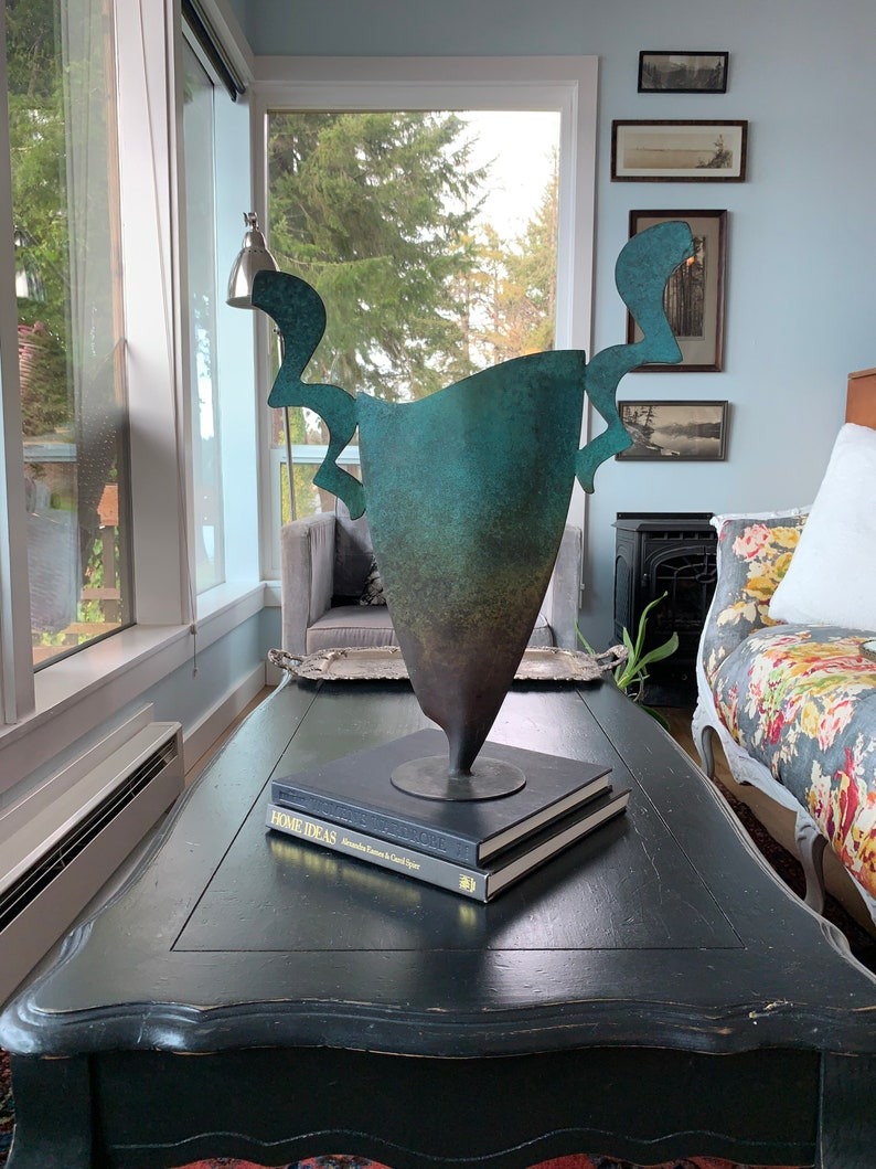 Modern Copper Vase With Green Aged Patina
