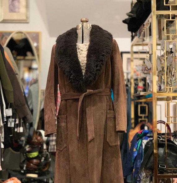 Vintage Brown Suede Shearling Long Coat