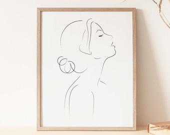 Woman Face Sketch, Female Poster, Minimalist Print, Woman Line Drawing, Woman Sketch Art, Modern Print, Female Face Outline Art, Simple Line