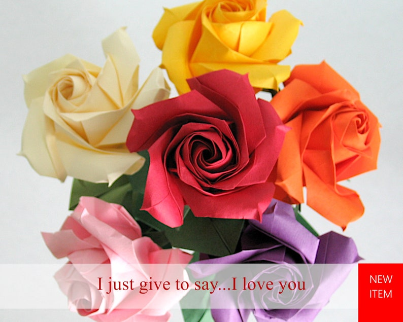 Multicolored Origami Paper Rose Bouquet image 0