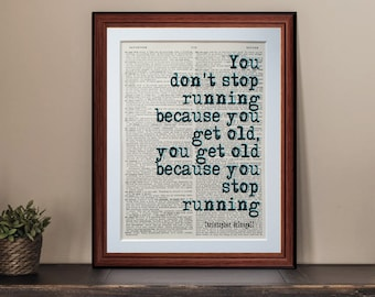 Running Christopher Mcdougall quote dictionary page art print - vintage antique inspiration