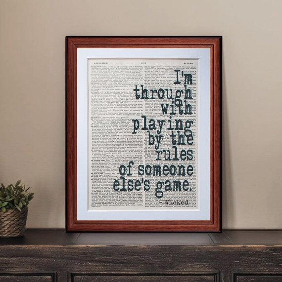 Wicked Musical quote dictionary page art print - vintage antique  inspiration quotes