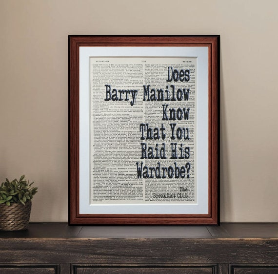 The Breakfast Club film quote dictionary page art print reading books literary