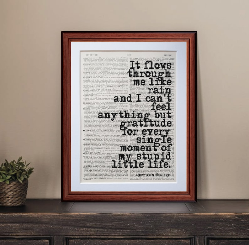 American Beauty quote dictionary page art print vintage | Etsy