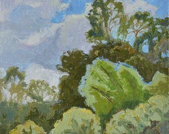 Reaching Flowing, Oil painting, Plein aire landscape painting, California landscape