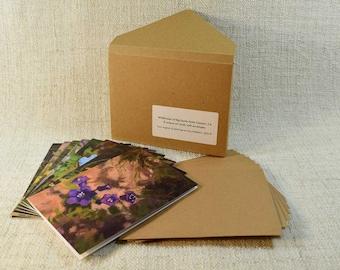 Set of 8 Wildflower Art Cards, 5x7 Oil Painting Prints, Big Santa Anita Canyon California, Adams Pack Station Benefit