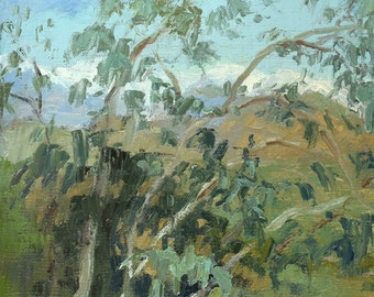 Snow in the Distance (Art Center, Pasadena), Tree painting, Oil painting, Plein aire landscape painting, California landscape