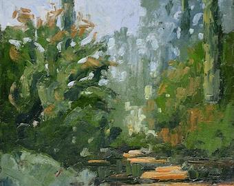 Cypresses (Arlington Garden, Pasadena), Tree painting, Oil painting, Plein aire landscape painting, California landscape