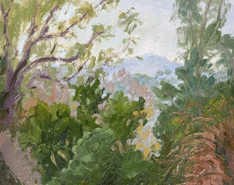 Distant Glimpse (South Pasadena), Tree painting, Oil painting, Plein aire landscape painting, California landscape