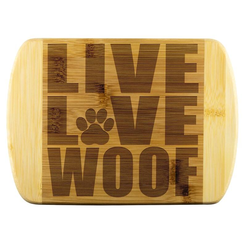 Live Love Woof Bamboo Cutting Board