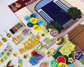 40 Ramadan/Eid stickers, Islamic/eid gift, Reusable