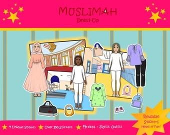 Ramadan Eid Activity Book, Islamic eid gift, modest dress-up, hijab, swim gym wear, muslim dolls, reusable stickers, girl dress up