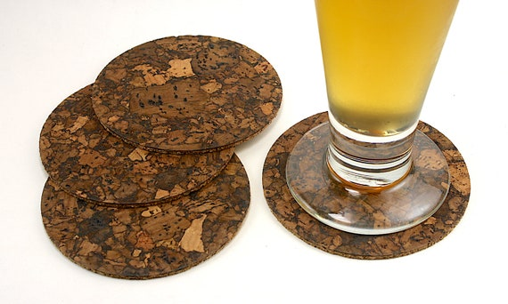 Round Cork Coasters For Drinks Rustic Bar Coaster Set Etsy