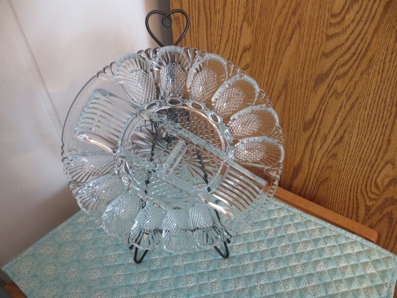 Smith Hobnail Deviled Egg Dish and Relish Plate Platter Tray L.E