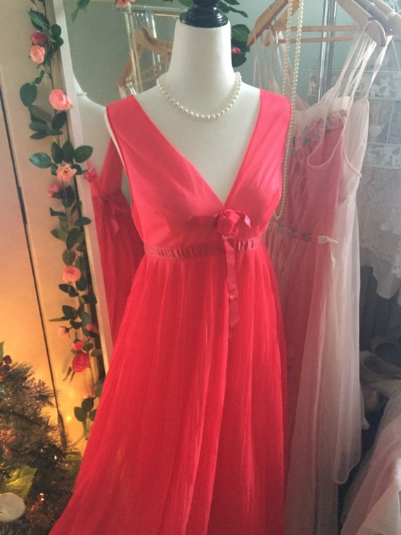1960s Candy Apple red long chiffon nightgown maxi