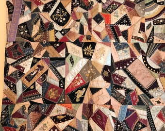 Stunning Antique Quilt Late 1800s Completed Quilts Victorian Crazy Quilt For Repair Repurposing Quilts
