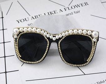 a01a4c0963d6 Handmade Fashion Cat eye Sunglasses Women Peal flower Sun glasses white Rhinestone  sunglasses