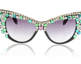 c220be22e6338 Handmade Retro Cat eye Sunglasses Women Love Sun glasses Colorful  Rhinestone sunglasses