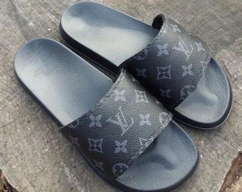 16a08c08a Custom Handmade Repurposed Louis Vuitton Slides Sandals Flip Flops Black