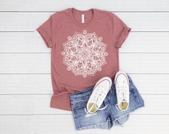 450a73bc Mandala T Shirt Unisex Mauve Shirt - Women Boho T shirt - Bohemian T shirt  - boho Boho shirt - Graphic T Shirt