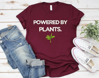 d8c239527 Powered by Plants - Vegan Shirt - Vegan T shirt - Unisex - Pwrd By Plants -  Plants T shirt