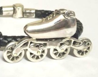 Four Wheel Roller Skate Pendant Necklace Silver Color with Rhinestone Wheels 19 Inch Chain Nichol Free