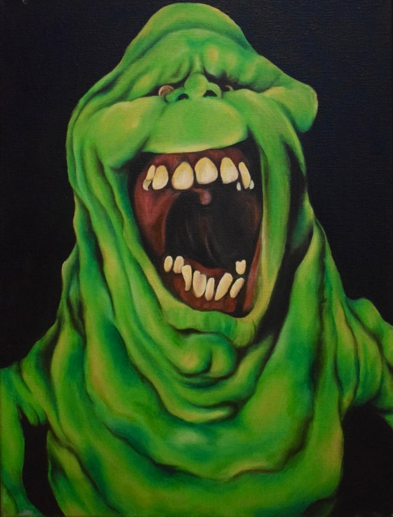 Ghostbusters Slimer canvas painting oil 1984 | Etsy