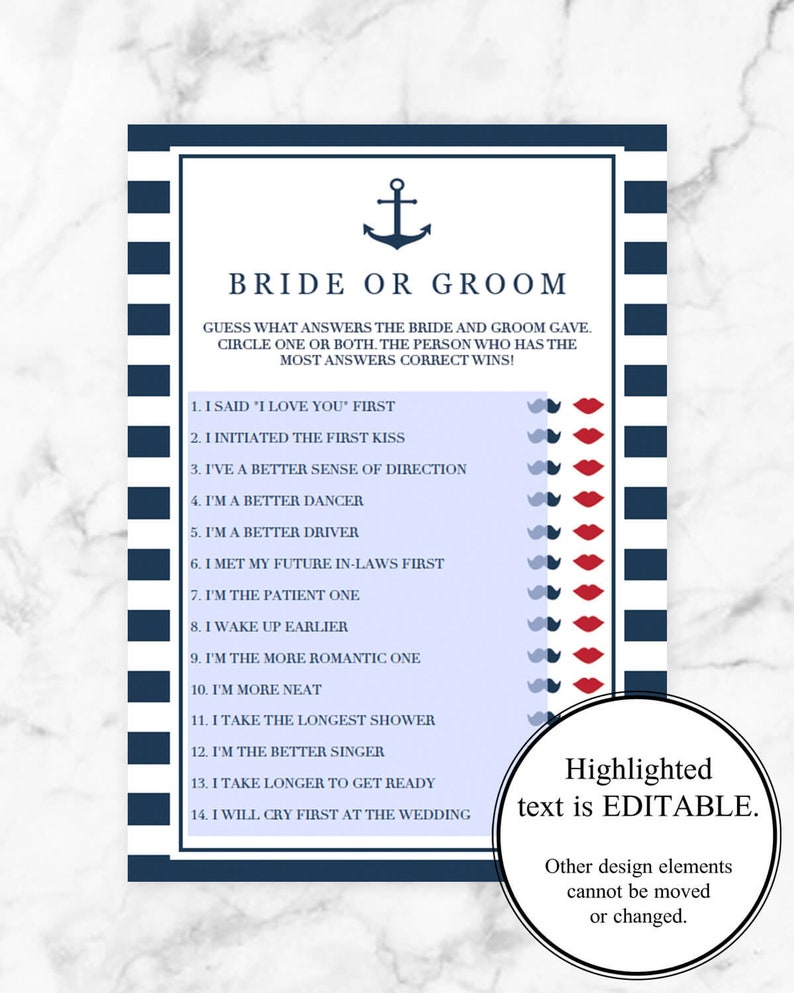 Anchor Wedding Shower Games Package Download Nautical Bridal Shower Games Kit Beach Wedding Activities Emoji Pictionary Game Guess Dress NS1