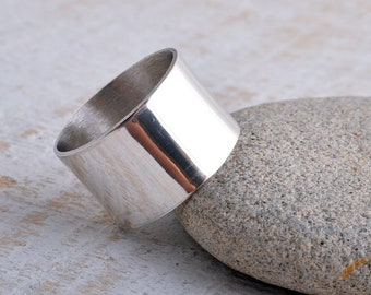 Sterling silver plain polished band ring 925 handmade to order 12mm band