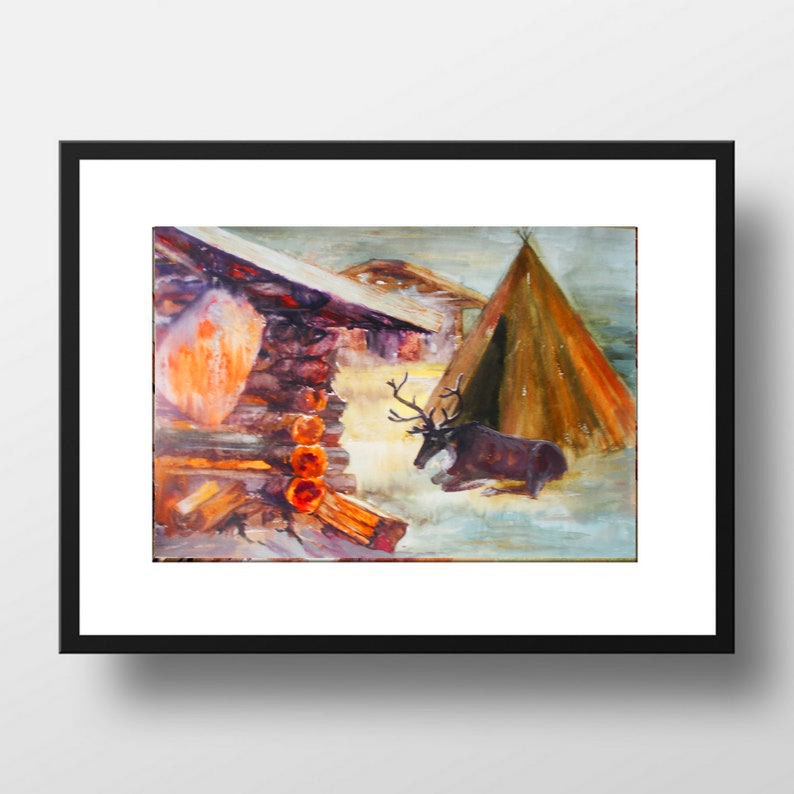Inuit House Painting Original Art Caribou Watercolor Artwork Alaska Painting Canada Art 12 by 16 inches