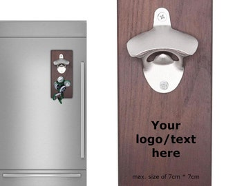 Customized bottle opener with magnetic cap catcher for fridge, refrigerator. Personalized gift for any occasion. FREE SHIPPING.