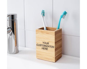 Personalized Bamboo Toothbrush and Toothpaste box holder for Minimalist Bathroom With Your Logo or Text Engraved on Wood