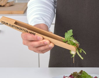 Customized Bamboo Serving Tong With Your Special Message For Best Friend, Chef and Kitchen Design