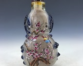 Chinese antique old Beijing glass handmade Inner painting birds and flowers snuff bottle