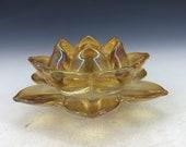 Chinese antique old Beijing glass handmade Lotus shape incense light