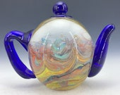 Chinese antique old Beijing glass handmade Teapot shape home decor