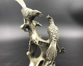 Chinese antique Tibetan silver hand-carved Two magpies qianlong mark
