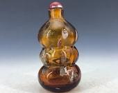 Chinese antique old Beijing glass handmade Gourd shape snuff bottle