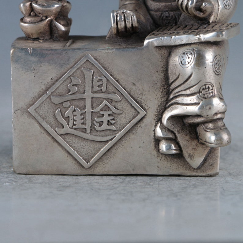 Exquisite Chinese Hand-carved Tibetan Silver Copper Shopkeeper Statues RT