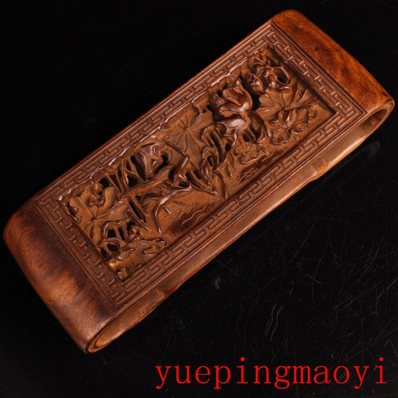 Collection Hand-carved hollow boxwood ink bed