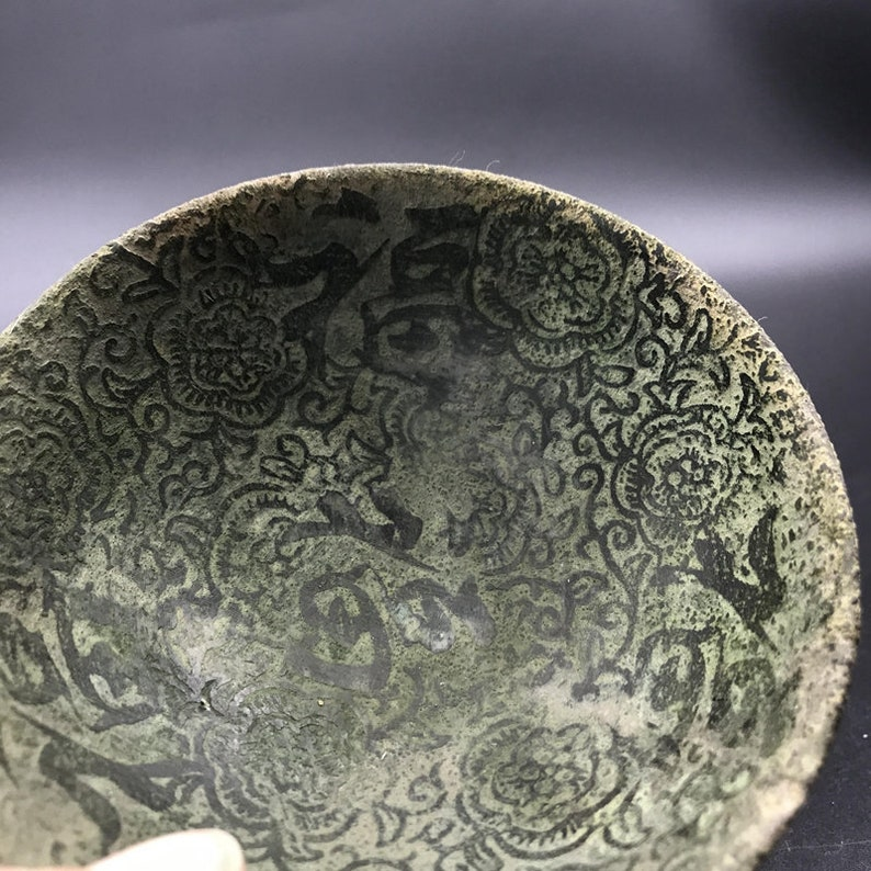 hand-carved embossed pattern blessing flower Qianlong mark bowl Chinese antiques