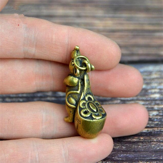 Exquisite Collectibles Chinese Old Style Brass Handmade Monkey Lock With Key