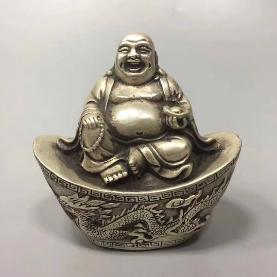 EXQUISITE TIBET WHITE COPPER PLATED SILVER MADE YUANBAO MAITREYA BUDDHA STATUE
