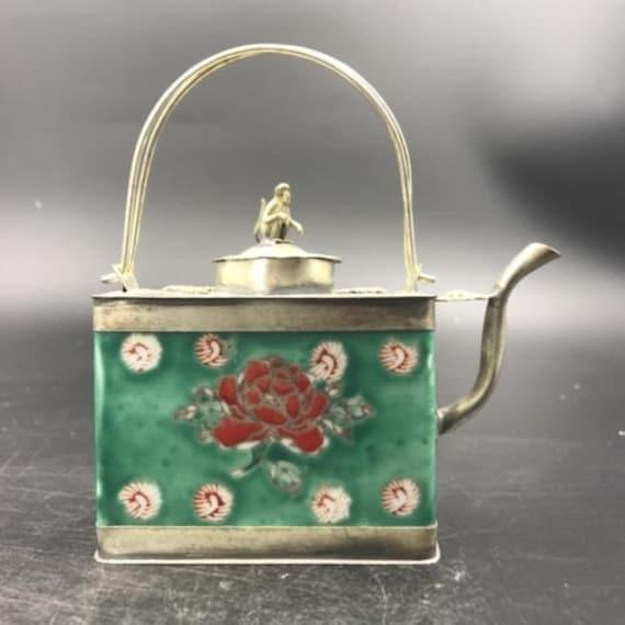 Exquisite Old Chinese ceramics Tibetan silver copper hand-made wine Tea Pot