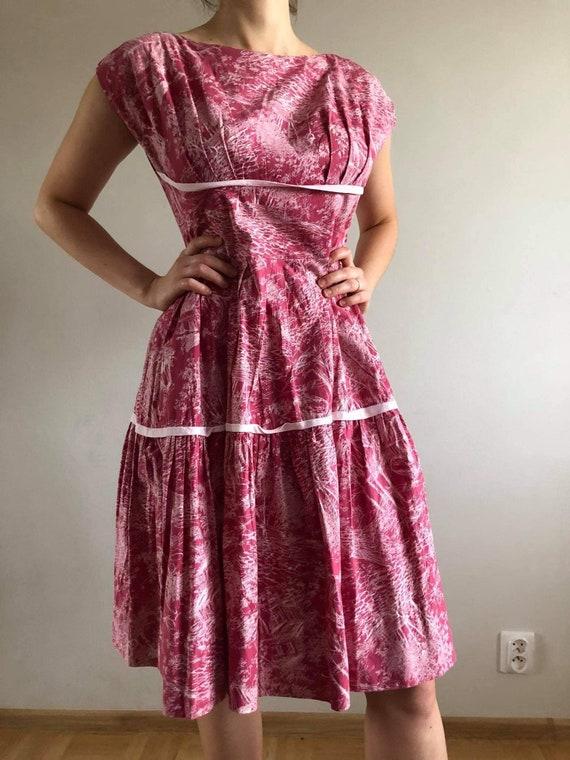 novelty print, dress, 1950, 1940, pink dress, vint