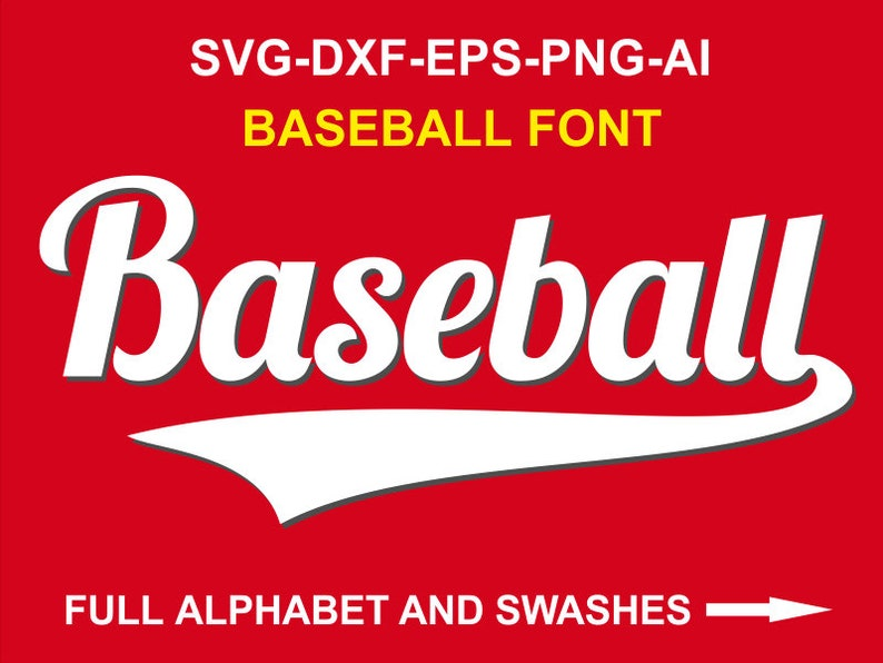 Baseball Font svg #1 Baseball Alphabet Baseball Letters svg font with  swashes Sports Fonts for cricut Silhouette - svg eps dxf png Ai